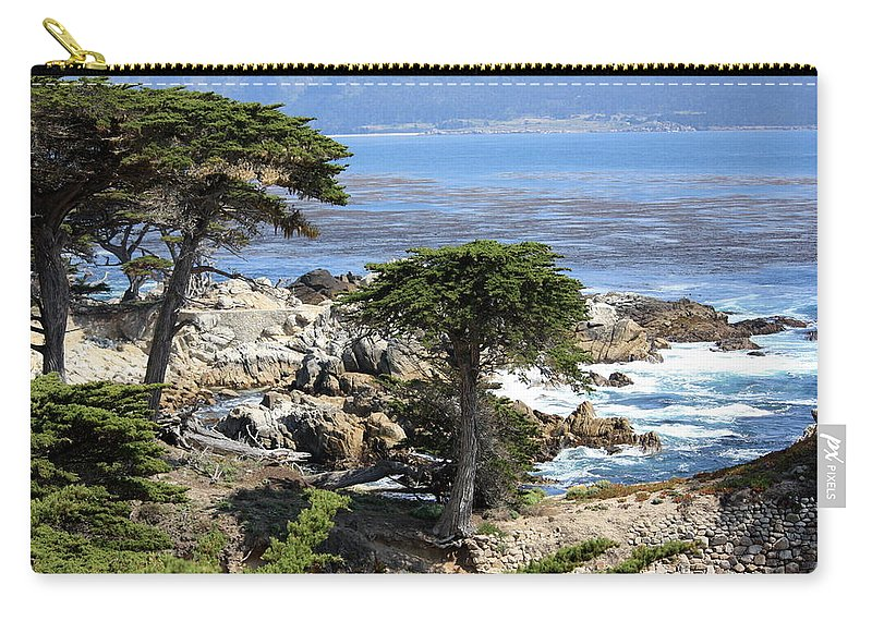 California Carry-all Pouch featuring the photograph Carmel Seaside With Cypresses by Carol Groenen