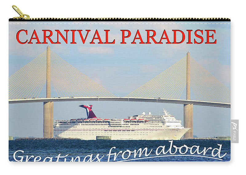 Carnival Paradise Cruise Ship Post Card Carry-all Pouch featuring the photograph Carnival Paradise Custom Pc One by David Lee Thompson