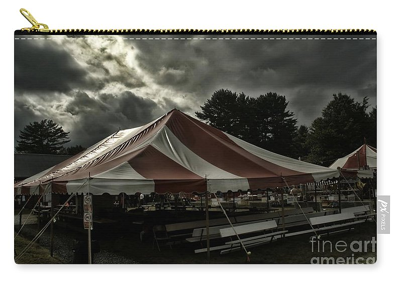 Overcast Sky Carry-all Pouch featuring the photograph Carnival Tents by Catherine Melvin