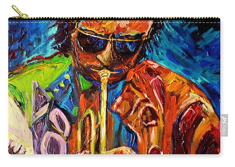 Carole Spandau Hot Jazz Portraits Carry-all Pouch featuring the painting Carole Spandau Paints Miles Davis And Other Hot Jazz Portraits For You by Carole Spandau