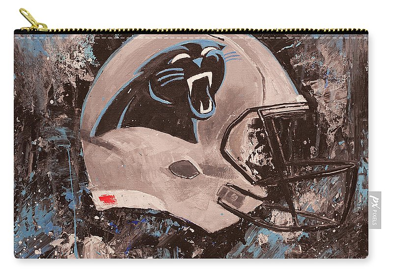 Carolina Panthers Football Helmet Painting Wall Art Carry All Pouch For Sale By Gray Artus