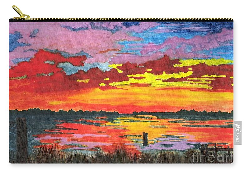 Original Painting Carry-all Pouch featuring the painting Carolina Sunset by Patricia Griffin Brett