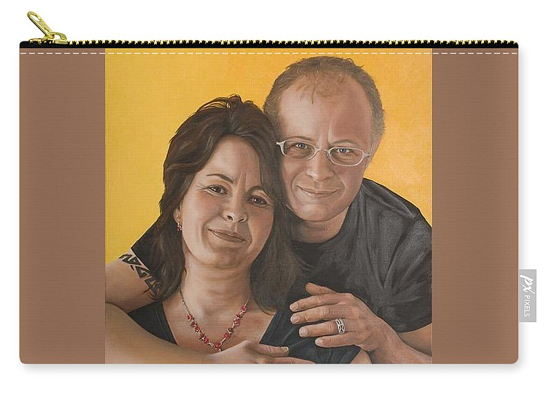 Portrait Carry-all Pouch featuring the painting Caroline And Rob by Rob De Vries