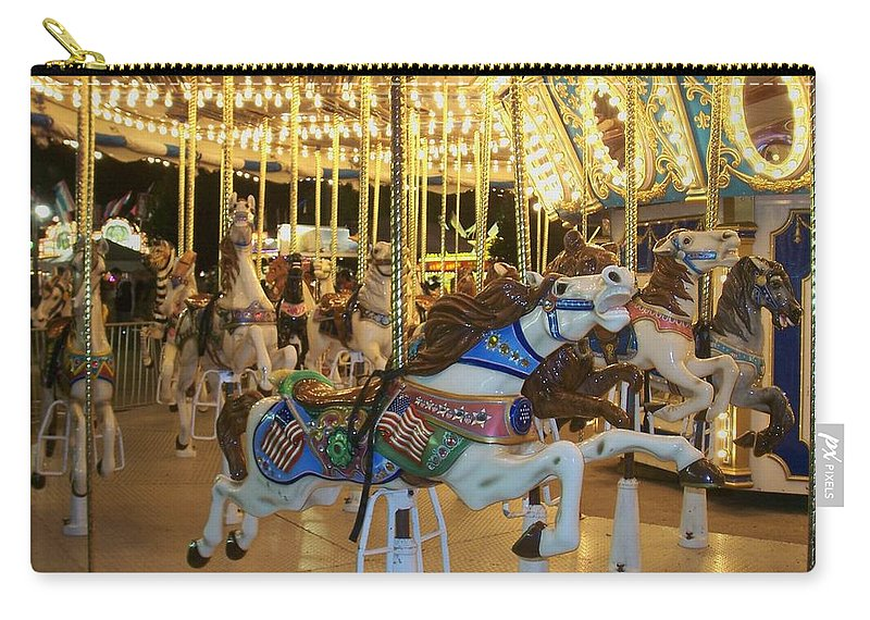 Carousel Horse Carry-all Pouch featuring the photograph Carousel Horse 3 by Anita Burgermeister