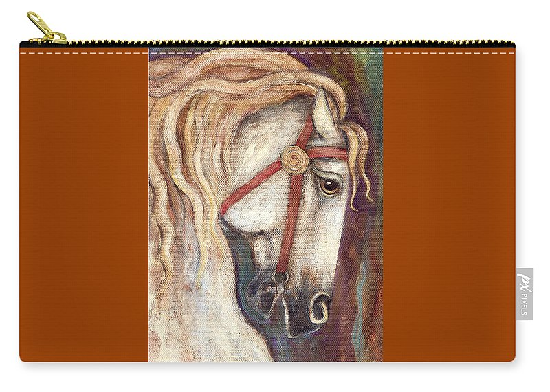 Horse Painting Carry-all Pouch featuring the painting Carousel Horse Painting by Frances Gillotti
