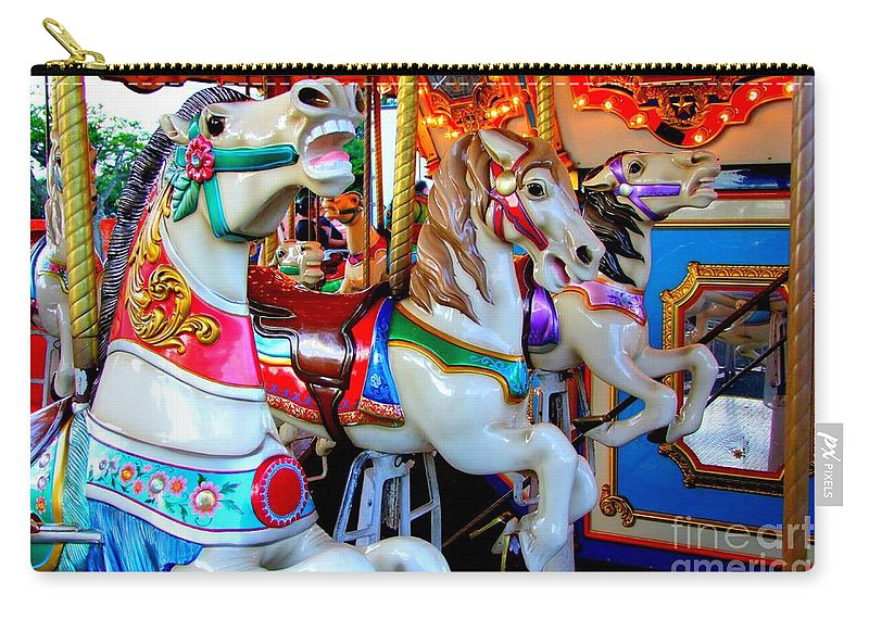 Carousel Horses Carry-all Pouch featuring the photograph Carousel Horses by Mary Deal