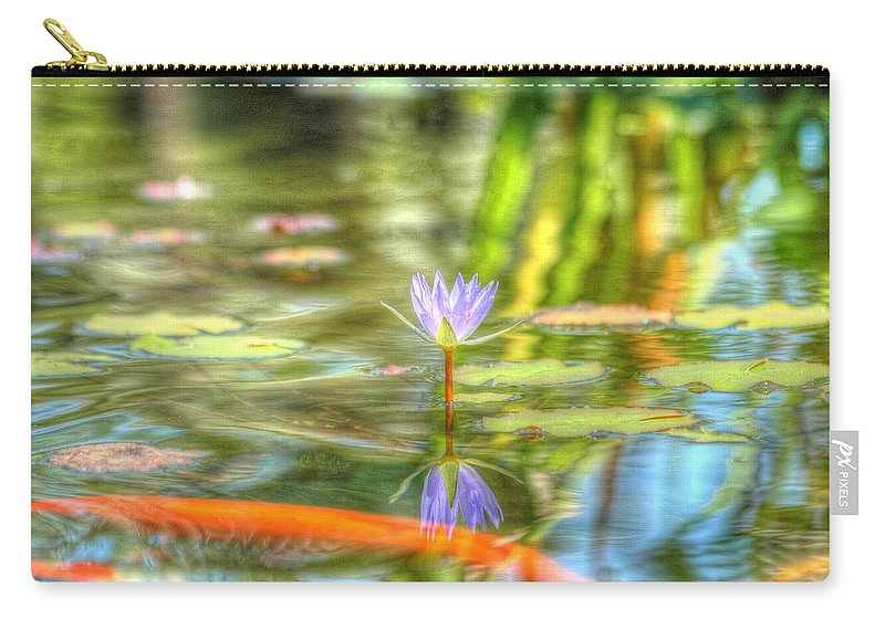 Carp Carry-all Pouch featuring the photograph Carp And Lily by Richard Omura