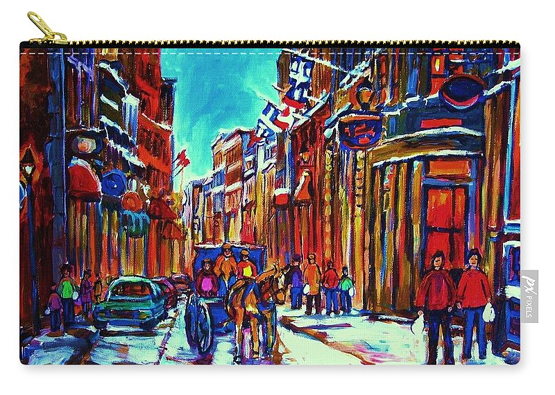 Old Montreal Carry-all Pouch featuring the painting Carriage Ride Through The Old City by Carole Spandau