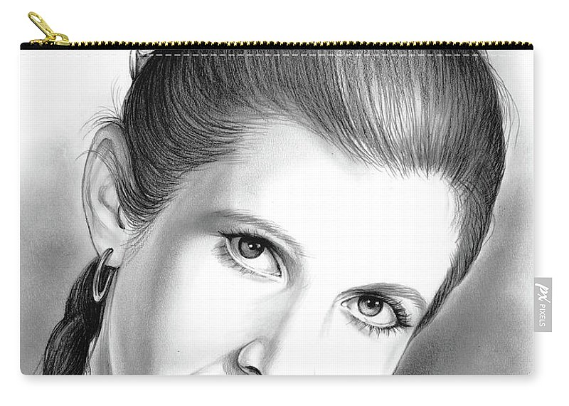 Carrie Fisher Carry-all Pouch featuring the drawing Carrie Fisher by Greg Joens