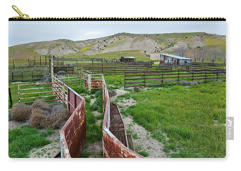 Carrizo Plain National Monument Carry-all Pouch featuring the photograph Carrizo Plain National Monument Ranch by Kyle Hanson