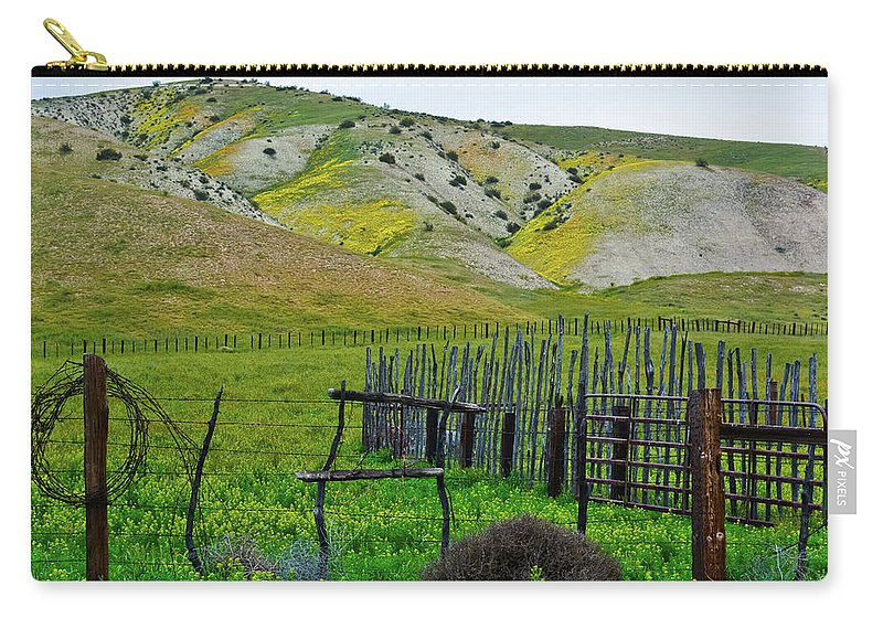 Carrizo Plain National Monument Carry-all Pouch featuring the photograph Carrizo Plain Ranch Wildflowers by Kyle Hanson