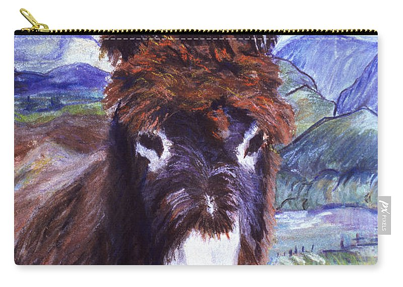 Pat Saunders-white Paintings Carry-all Pouch featuring the mixed media Carrot Top by Pat Saunders-White