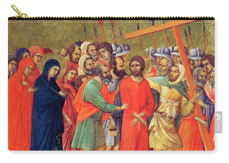 Carrying Carry-all Pouch featuring the painting Carrying Of The Cross 1311 by Duccio