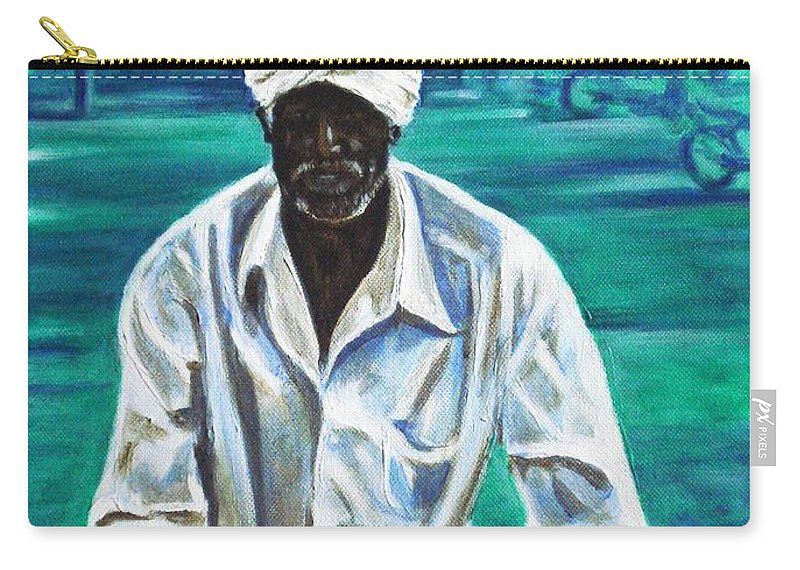 Indian Carry-all Pouch featuring the painting Cart Vendor by Usha Shantharam