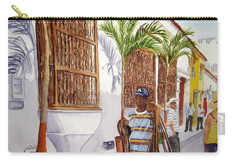 Landscape Carry-all Pouch featuring the painting Cartagena Peddler I by Julia RIETZ