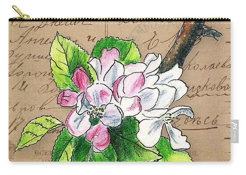 Blossom Carry-all Pouch featuring the mixed media Carte Postale. Blossoming Apple by Masha Batkova
