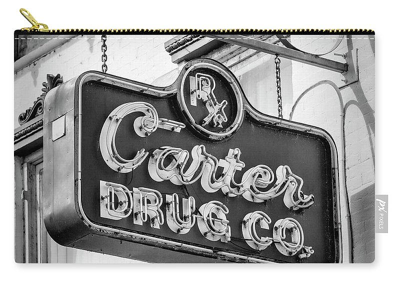 Selma Carry-all Pouch featuring the photograph Carter Drug Co - Bw by Stephen Stookey