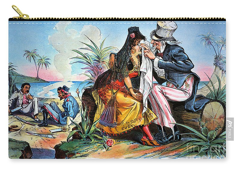 1895 Carry-all Pouch featuring the photograph Cartoon: Cuba, 1895 by Granger