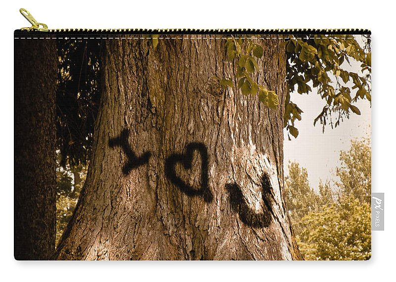 Tree Carry-all Pouch featuring the photograph Carve I Love You In That Big White Oak by Trish Tritz