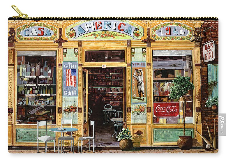 Coffe Shop Carry-all Pouch featuring the painting Casa America by Guido Borelli
