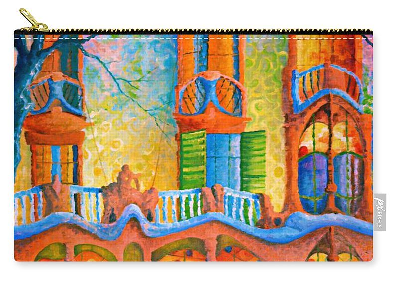 Original Fine Art Carry-all Pouch featuring the painting Barcelona Casa Batilo by Ray Gilronan