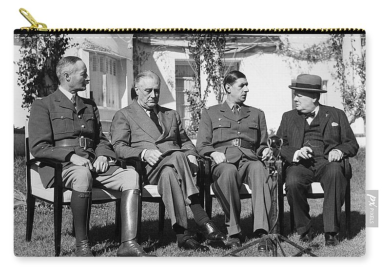 1943 Carry-all Pouch featuring the photograph Casablanca Conference by Granger