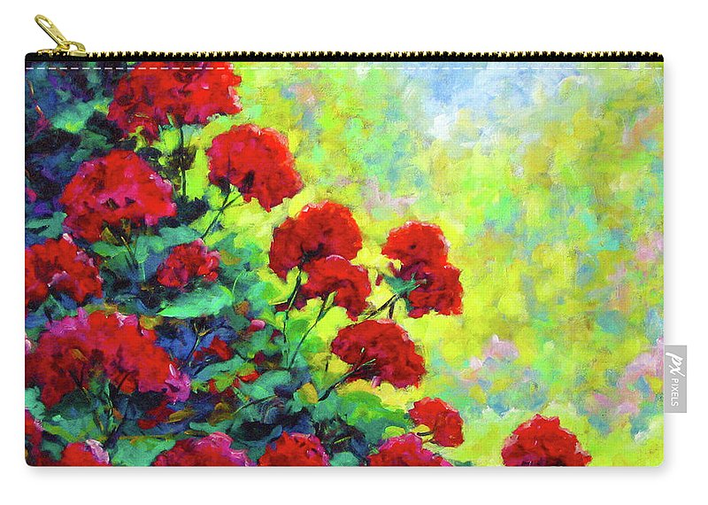 Art Original Carry-all Pouch featuring the painting Cascade Of Geraniums by Richard T Pranke