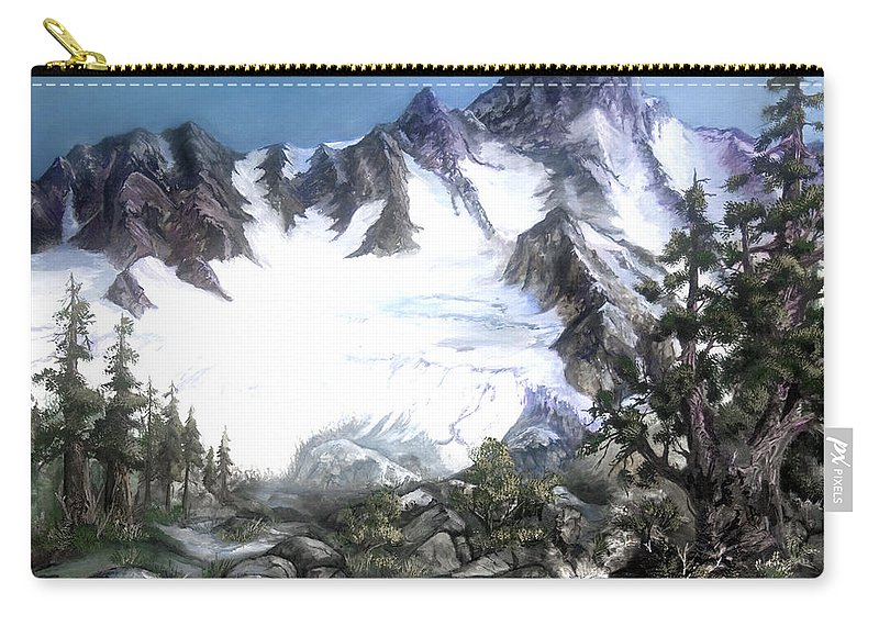 Mountain Carry-all Pouch featuring the painting Cascade Splendor Mount Fury by Sherry Shipley