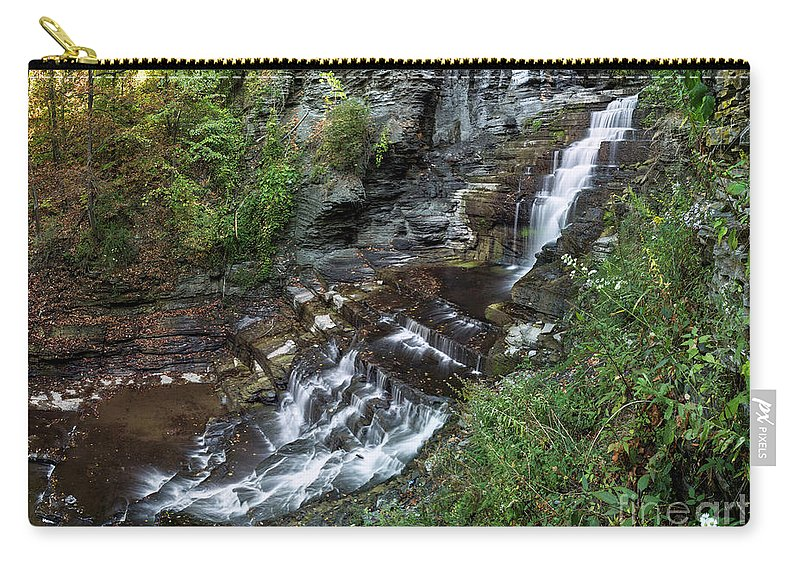 New York Carry-all Pouch featuring the photograph Cascadilla Falls Creek Gorge Trail Giant's Staircase by Karen Jorstad