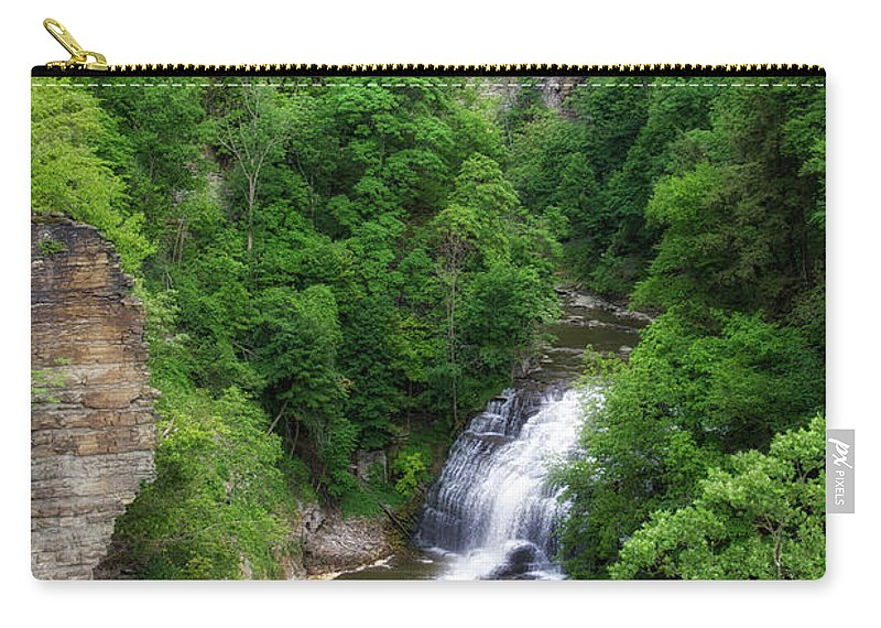 Cornell University Carry-all Pouch featuring the photograph Cascadilla Waterfalls Cornell University Ithaca New York 01 by Thomas Woolworth