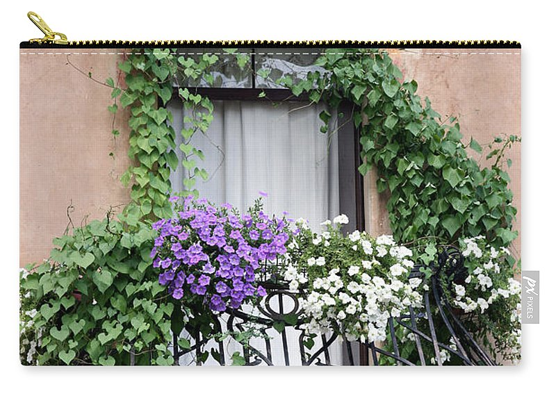 Windows And Doors Carry-all Pouch featuring the photograph Cascading Floral Balcony by Donna Corless