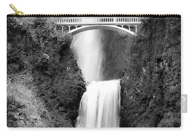 Multnomah Falls Carry-all Pouch featuring the photograph Cascading Waterfall Bw by Athena Mckinzie