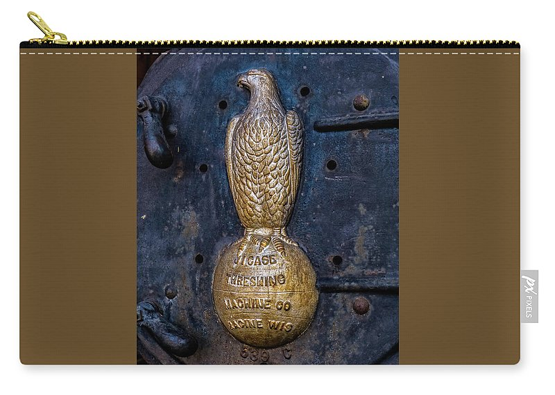 Farm Carry-all Pouch featuring the photograph Case Threshing Machine Eagle Emblem by Theresa Peterson
