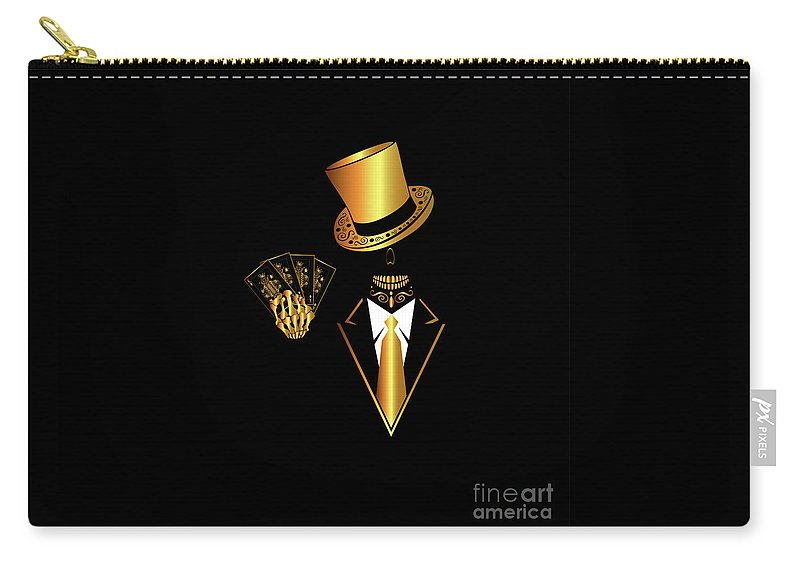 Art Carry-all Pouch featuring the digital art Casino Logo With Skull Icon And Cards, Gold And Black Color by Maja Brncic
