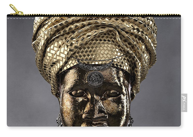 Africa Carry-all Pouch featuring the sculpture Cast In Character 2013 - Front by Omolara