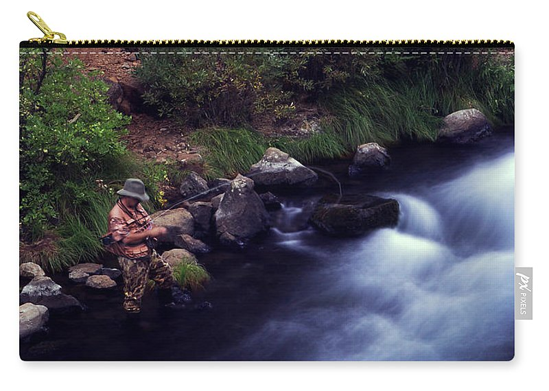 Fishing Carry-all Pouch featuring the photograph Casting Softly by Peter Piatt