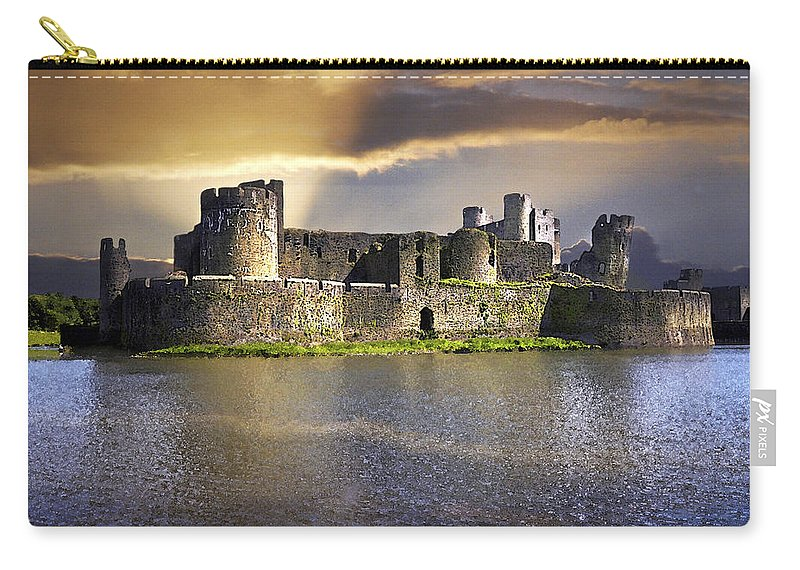 Castle Carry-all Pouch featuring the digital art Castle At Dawn by Vicki Lea Eggen