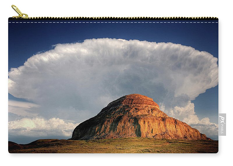 Cumulonimbus Carry-all Pouch featuring the digital art Castle Butte In Big Muddy Valley Of Saskatchewan by Mark Duffy