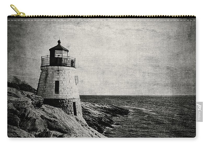 Castle Hill Lighthouse Carry-all Pouch featuring the photograph Castle Hill In Black And White by Emily Kay