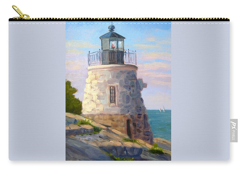 Castle Hill Lighthouse Newport Ri Carry-all Pouch featuring the painting Castle Hill Light Newport Ri by Betty Ann Morris