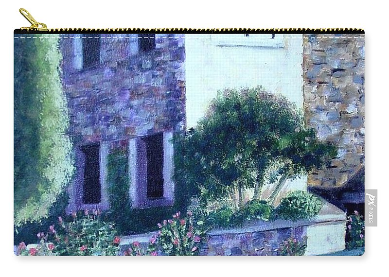 Italy Carry-all Pouch featuring the painting Castle Sestri Levante by Laurie Morgan