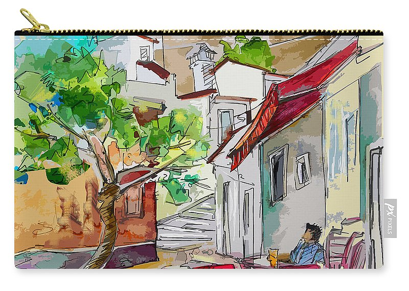 Castro Marim Portugal Algarve Painting Travel Sketch Carry-all Pouch featuring the painting Castro Marim Portugal 01 Bis by Miki De Goodaboom