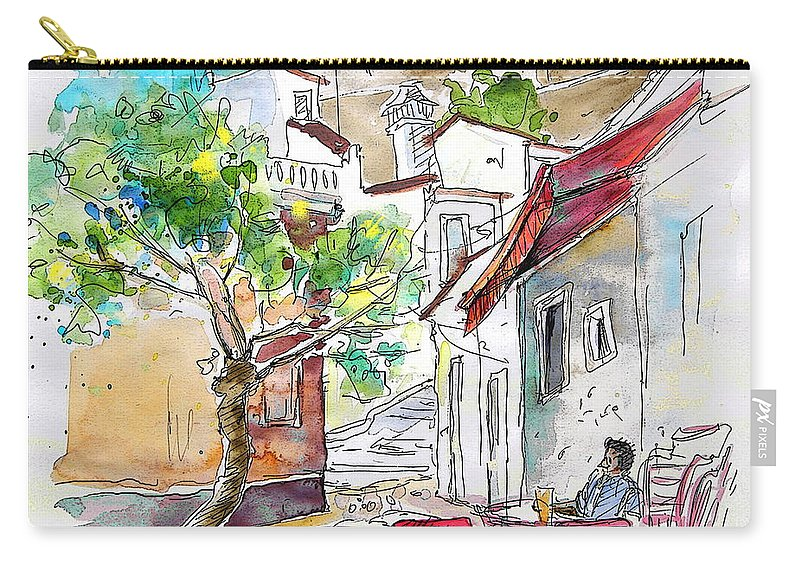 Water Colour Travel Sketch Castro Marim Portugal Algarve Miki Carry-all Pouch featuring the painting Castro Marim Portugal 01 by Miki De Goodaboom