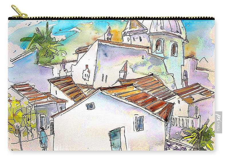 Water Colour Travel Sketch Castro Marim Portugal Algarve Miki Carry-all Pouch featuring the painting Castro Marim Portugal 05 by Miki De Goodaboom