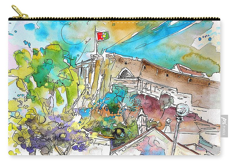 Castro Marim Portugal Algarve Painting Travel Sketch Carry-all Pouch featuring the painting Castro Marim Portugal 10 by Miki De Goodaboom
