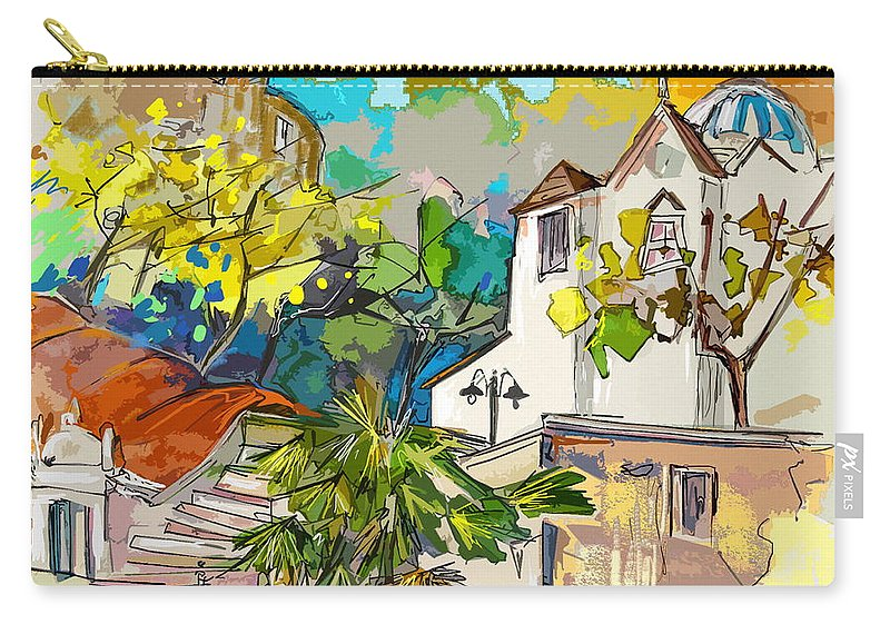 Castro Marim Portugal Algarve Painting Travel Sketch Carry-all Pouch featuring the painting Castro Marim Portugal 13 Bis by Miki De Goodaboom