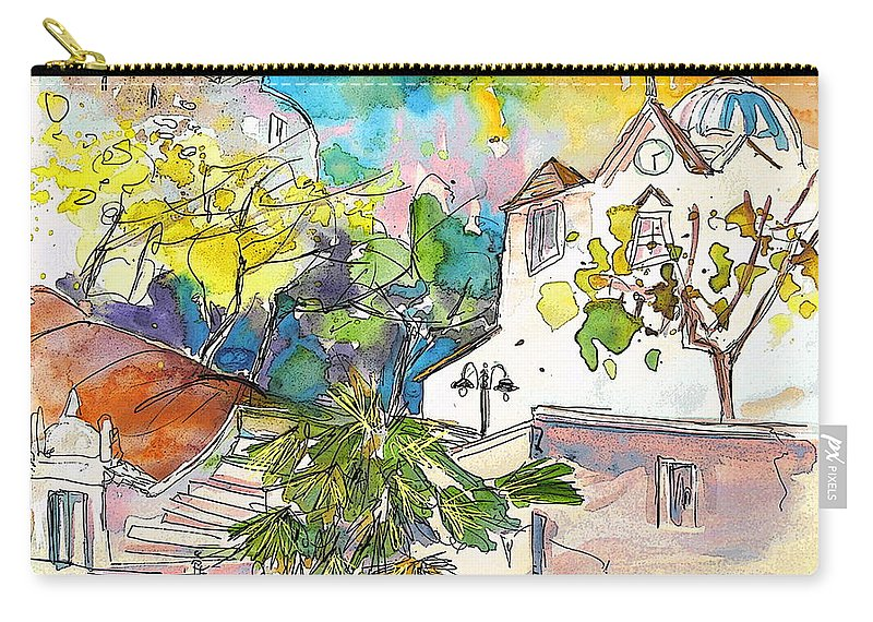 Castro Marim Portugal Algarve Painting Travel Sketch Carry-all Pouch featuring the painting Castro Marim Portugal 13 by Miki De Goodaboom