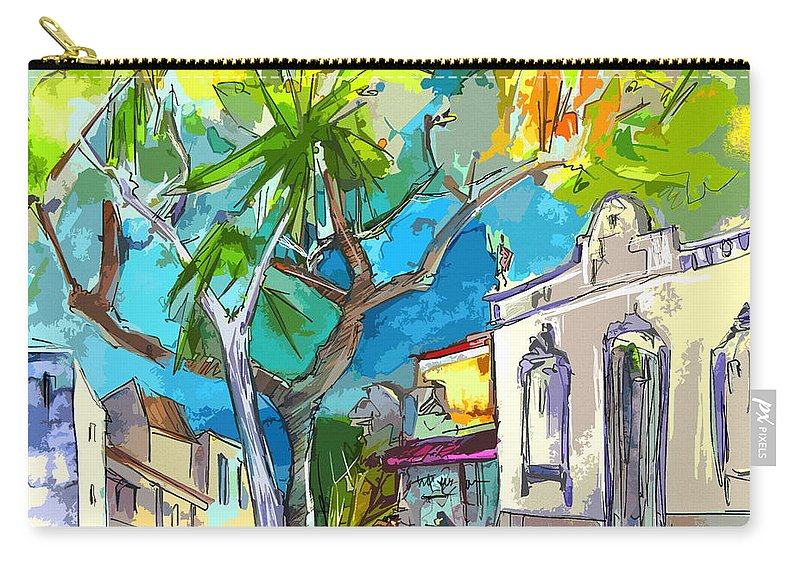 Castro Marim Portugal Algarve Painting Travel Sketch Carry-all Pouch featuring the painting Castro Marim Portugal 14 Bis by Miki De Goodaboom