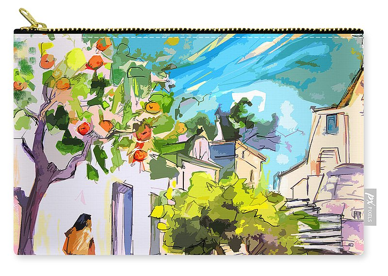 Castro Marim Portugal Algarve Painting Travel Sketch Carry-all Pouch featuring the painting Castro Marim Portugal 15 Bis by Miki De Goodaboom