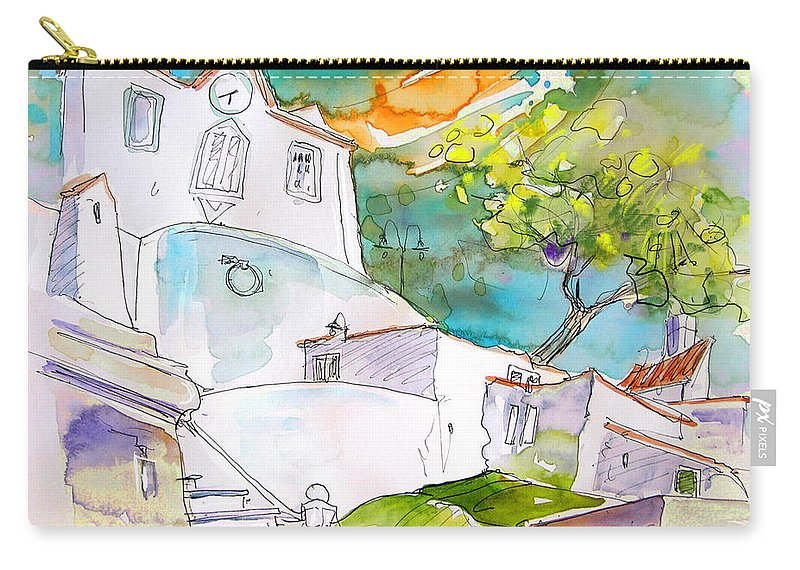 Castro Marim Portugal Algarve Painting Travel Sketch Carry-all Pouch featuring the painting Castro Marim Portugal 17 by Miki De Goodaboom